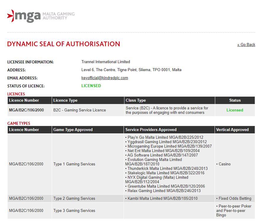 vergunning mga licentie unibet
